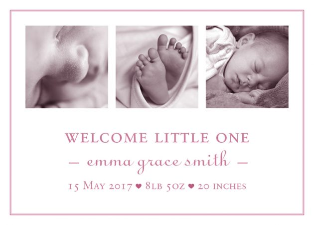 Baby Announcement cards - welcome baby girl