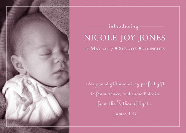 Ruth Woulfe Design Baby Announcement cards - introducing baby girl